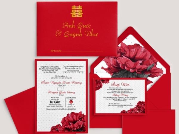 Thiệp cưới màu đỏ tươi luôn được yêu thích