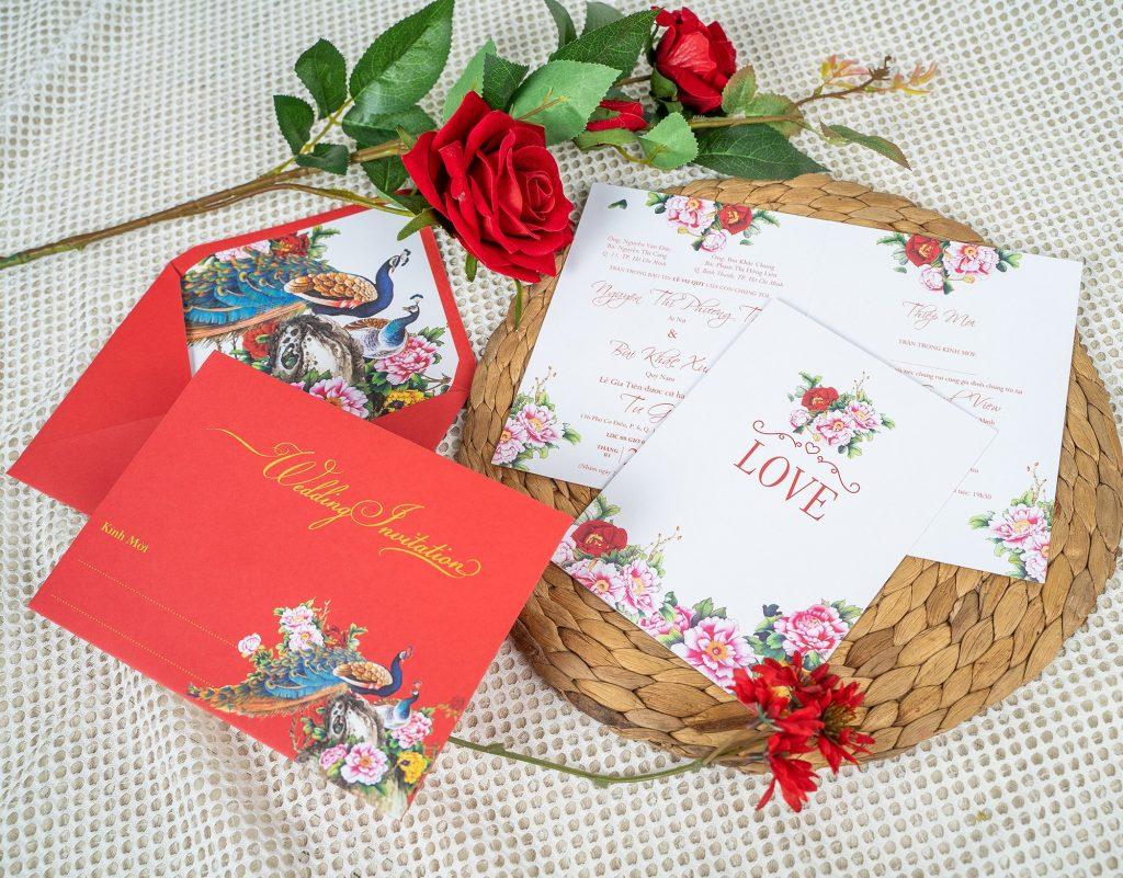 Mẫu thiệp cưới màu đỏ truyền thống
