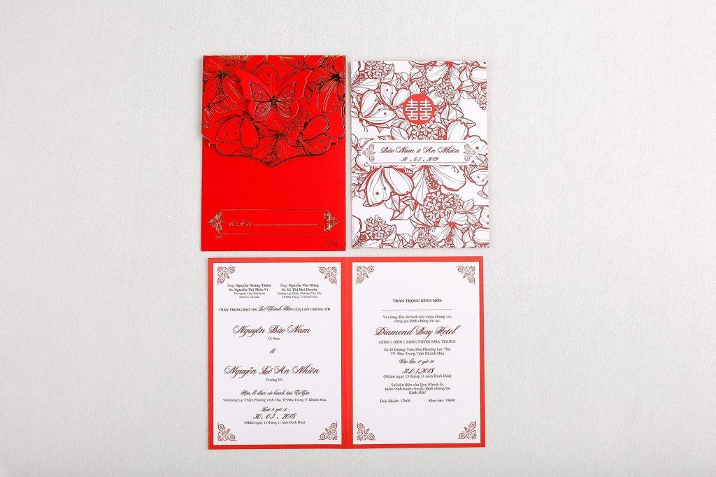 Mẫu thiệp cưới màu đỏ cao cấp
