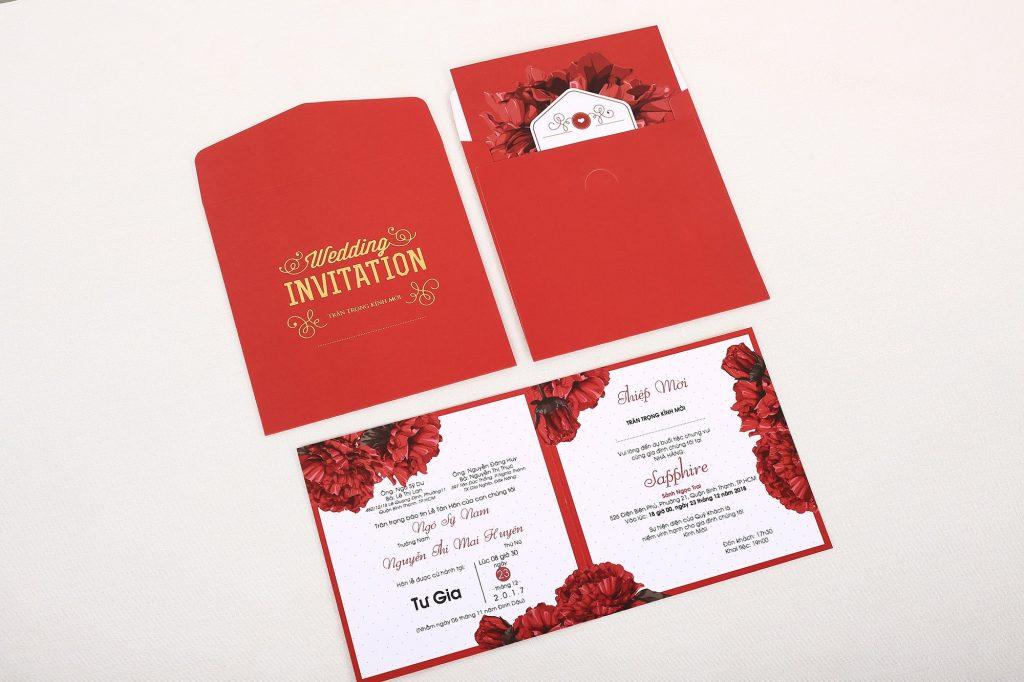 Mẫu thiệp cưới màu đỏ sang trọng