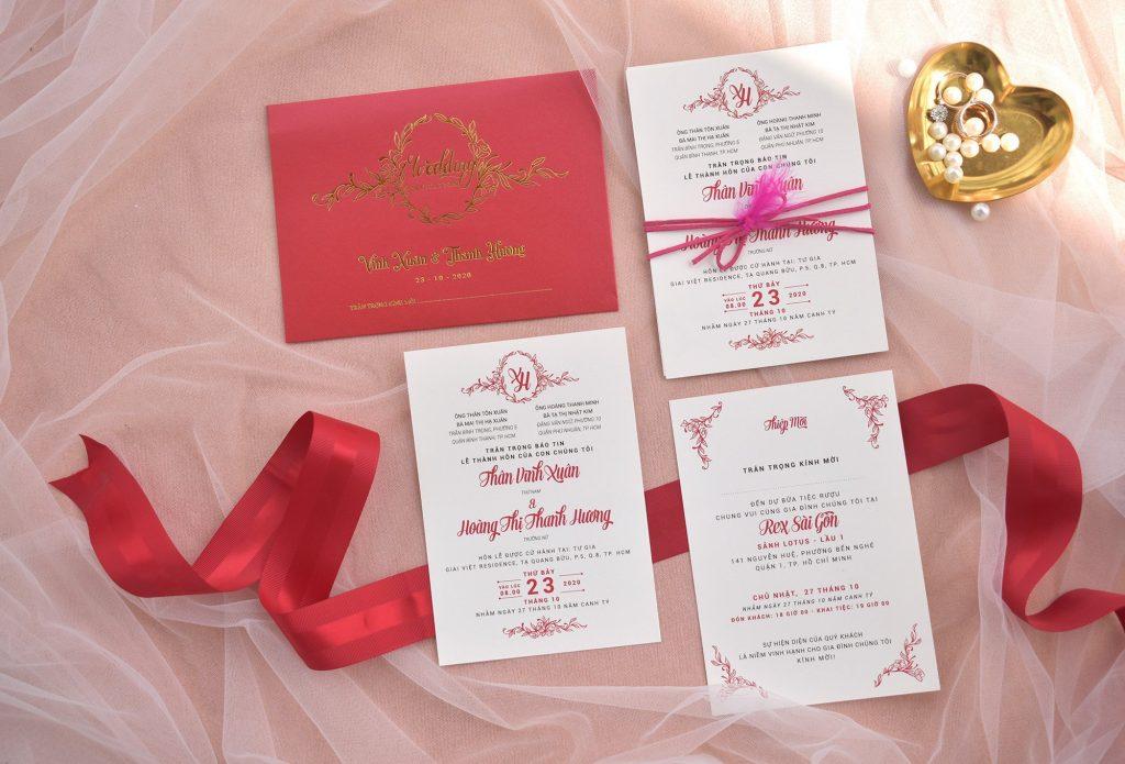 Mẫu thiệp cưới màu đỏ giá rẻ
