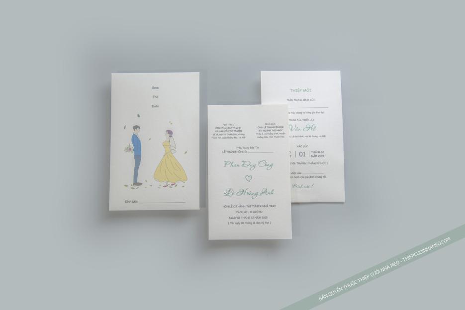 Mẫu thiệp cưới cao cấp chất lượng giá rẻ đơn giản mèo 10