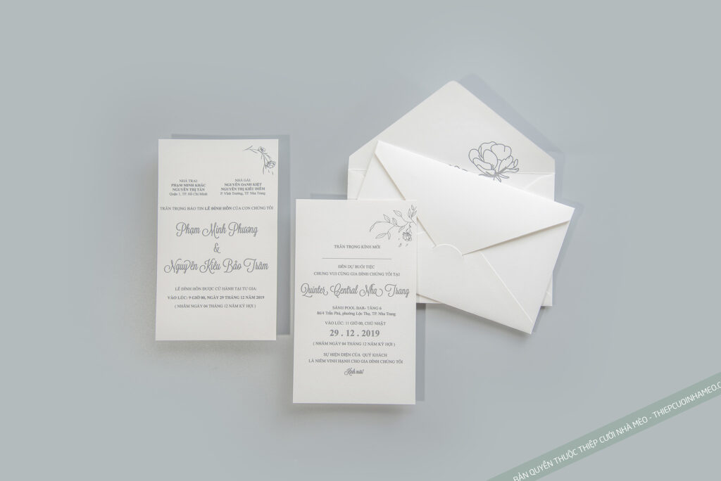 Mẫu thiệp cưới đơn giản hiện đại cao cấp giá rẻ in sẵn mèo 19