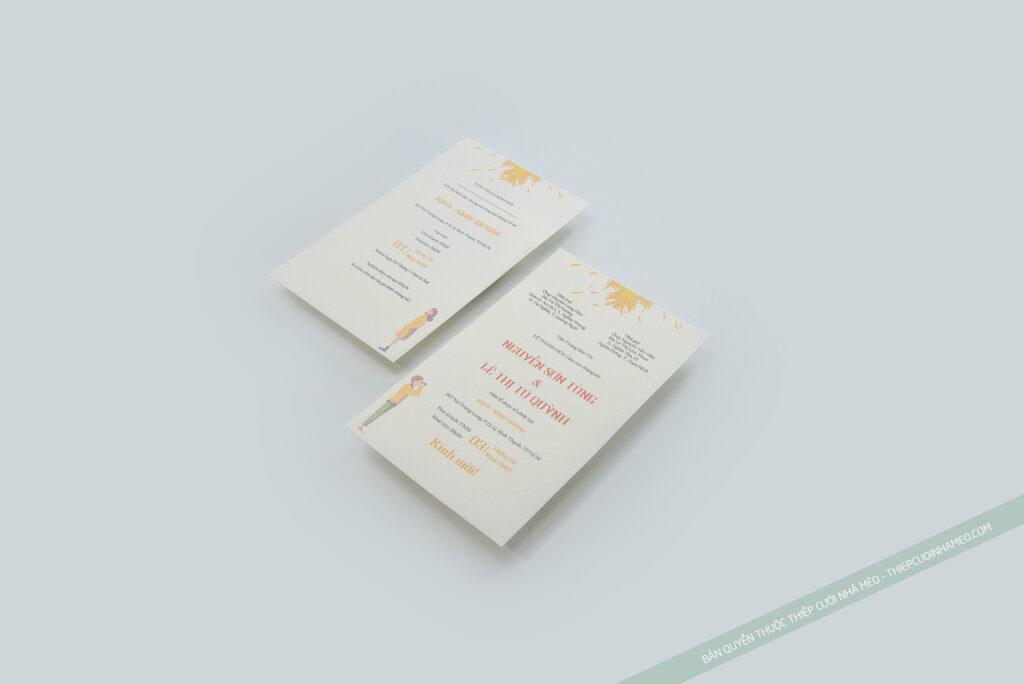 Mẫu thiệp cưới in sẵn hiện đại đơn giản giá rẻ họa tiết hiện đại mèo 29