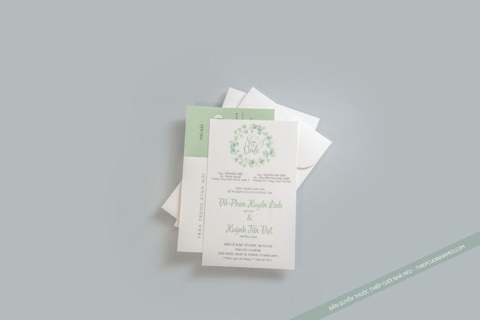 Mẫu thiệp cưới màu xanh đơn giản hiện đại sang trọng cao cấp giá rẻ mèo 7