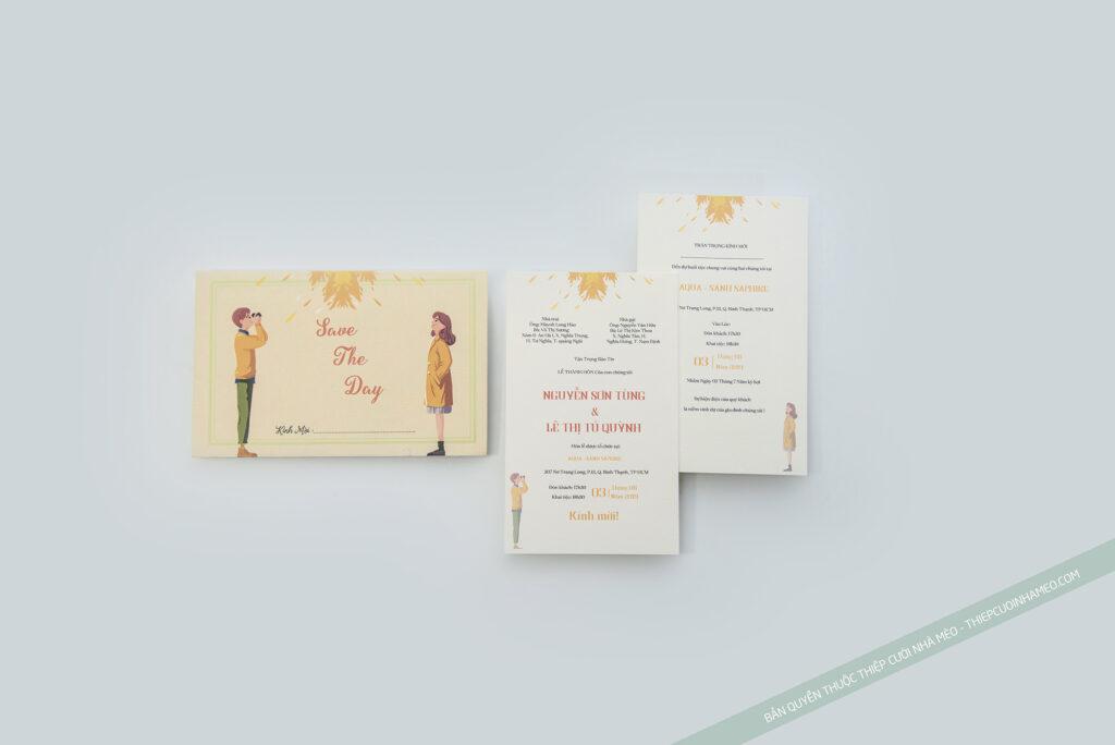 Hình ảnh cô dâu và chú rể được vẽ chibi lên thiệp mời cưới