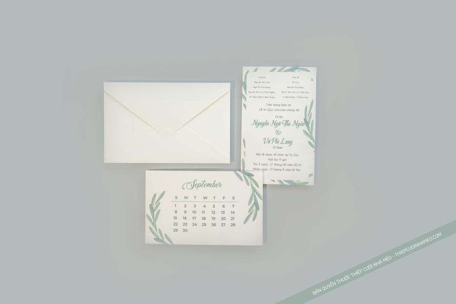 Mẫu thiệp đám cưới màu xanh lá cây