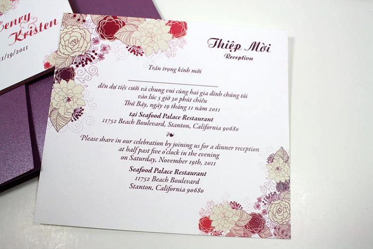 Cách thiết kế thiệp cưới hai tiếng Anh và Việt song song