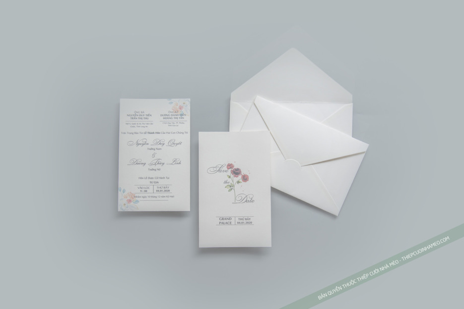 Lựa chọn phôi thiệp mời cưới phù hợp với phong cách đám cưới