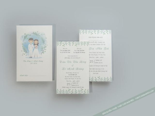 Thiệp cưới hình chibi thiết kế trên nền trắng