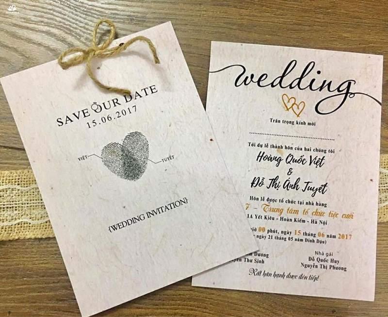 Thiệp cưới in vân tay phong cách vintage độc đáo