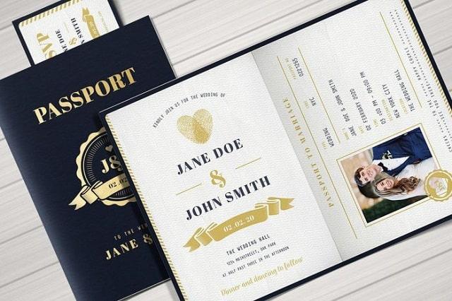 Thiệp cưới passport - vé thông hành đặc biệt vào lễ đường hạnh phúc của cô dâu chú rể