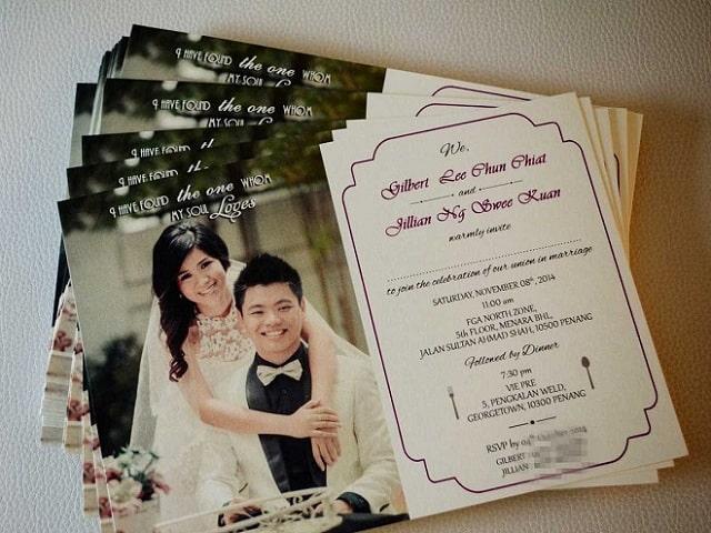 Thiệp cưới in hình cô dâu chú rể mang dấu ấn riêng cho hôn lễ