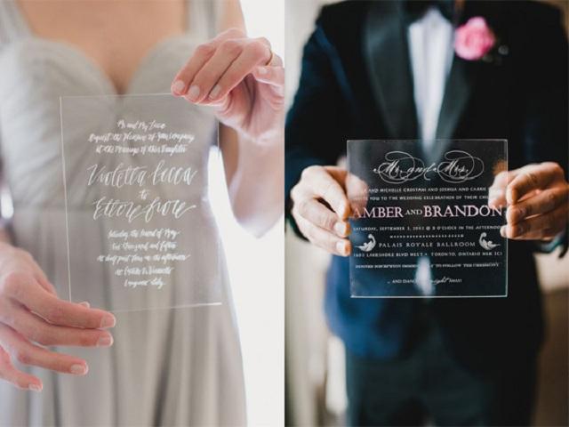 Thiệp cưới bằng nhựa trong suốt thanh lịch, mới mẻ